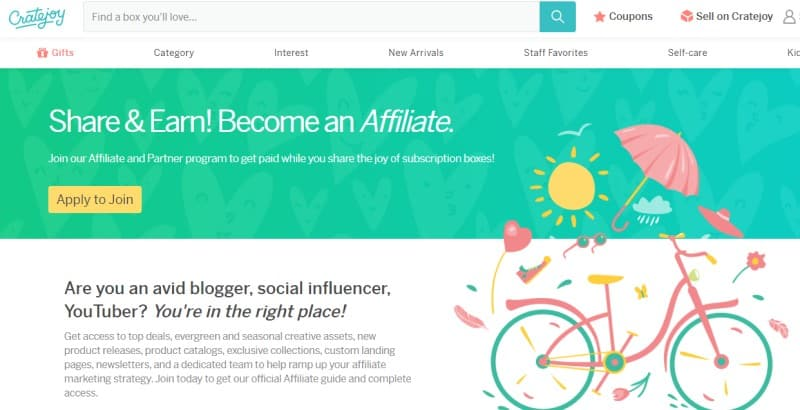 screenshot of the cratejoy affiliate page