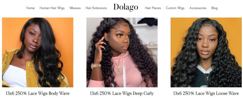 dolago screenshot featuring 3 black women modeling their wigs