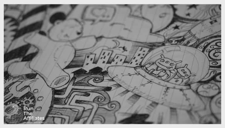 close up of a black and white drawing