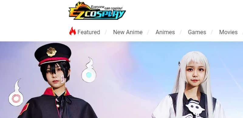 screenshot of ezcosplay website with man and woman modeling wigs and costumes of popular anime characters