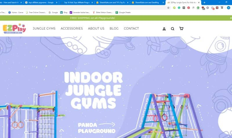screenshot of ezplay toys website featuring indoor jungle gyms against a blue background