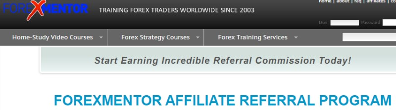 screenshot of the forex mentor affiliate webpage