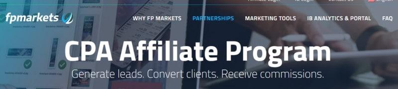 fpmarkets affiliate program screenshot