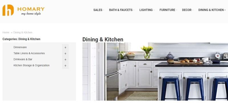homary website screenshot