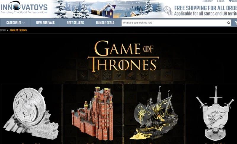 screenshot of the innovatoys website