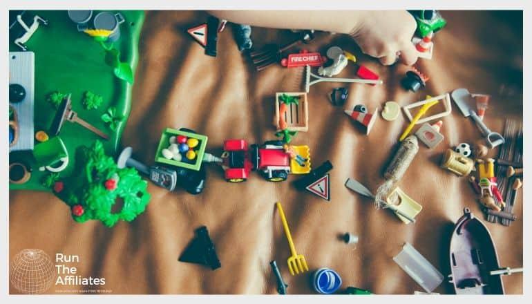 assorted toys strewn across a play area