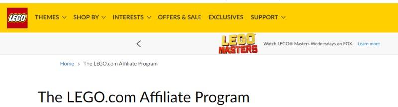 lego.com screenshot of their affiliate page