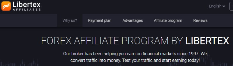 screenshot of libertex affiliate program