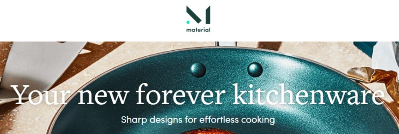 screenshot of the material kitchen website featuring a image of one of their frying pans
