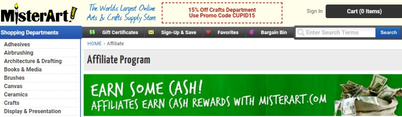 screenshot of the mister art website