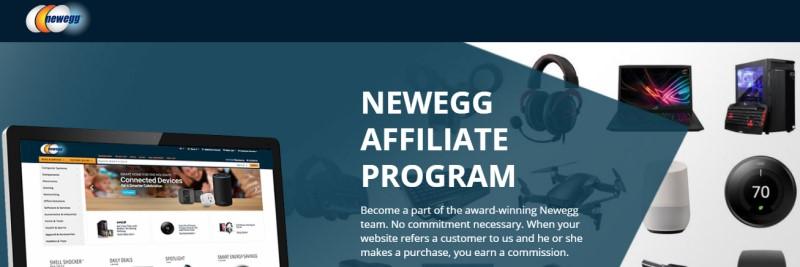 screenshot of the newegg affiliate webpage