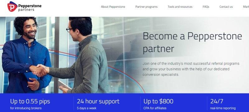 pepperstone affiliate program screenshot