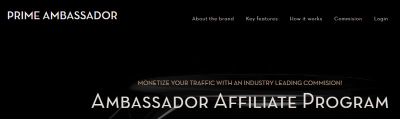 screenshot of prime ambassador website