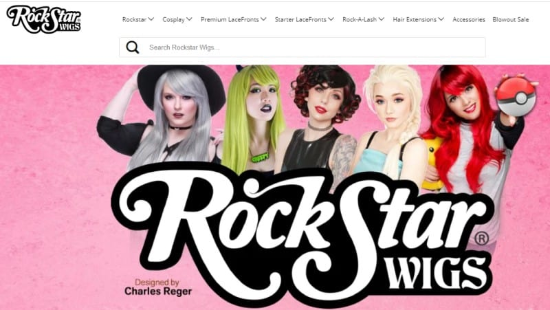 screenshot of rockstar wig featuring models wearing various wig