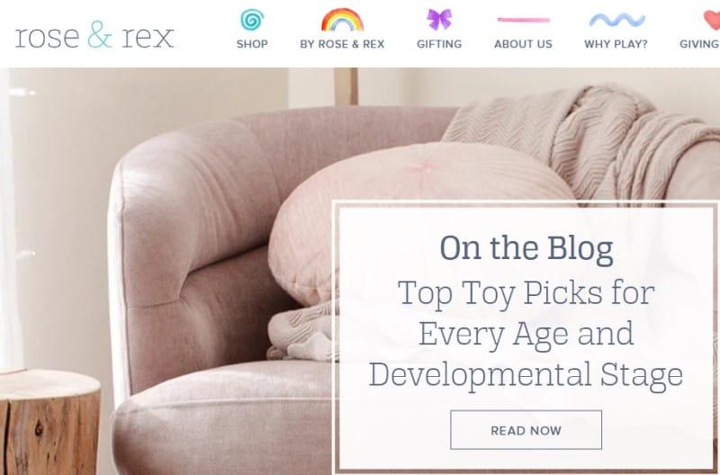 screenshot of the Rose and Rex LLC website