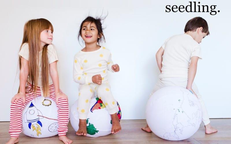 screenshot seedling website with 3 children playing on large balls
