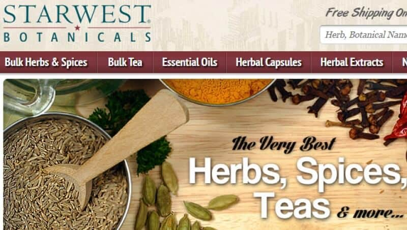 screenshot of starwest botanicals website
