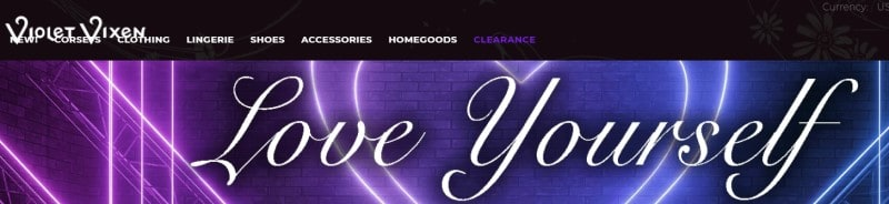 screenshot of the violet vixen website with love yourself written across a purple background