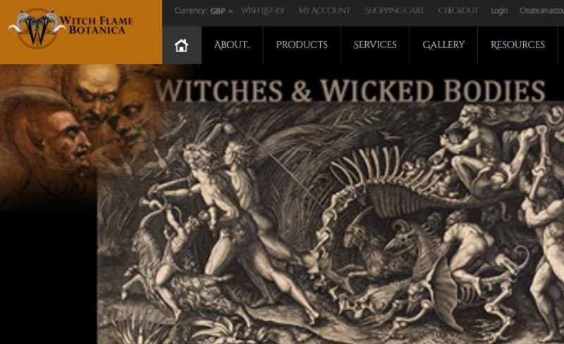 screenshot of the Witch Flame Botanica Website
