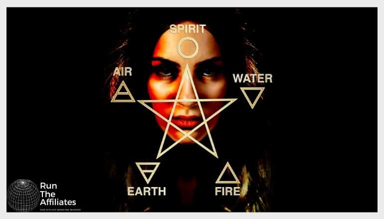 pentagram imposed over a womans face with the 5 elements at each point
