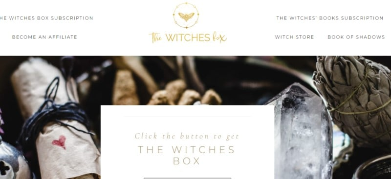 screenshot of the witches box webpage