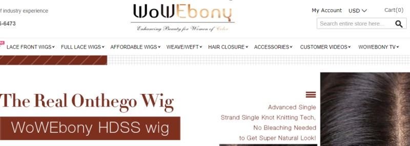 screenshot of the wow ebony website
