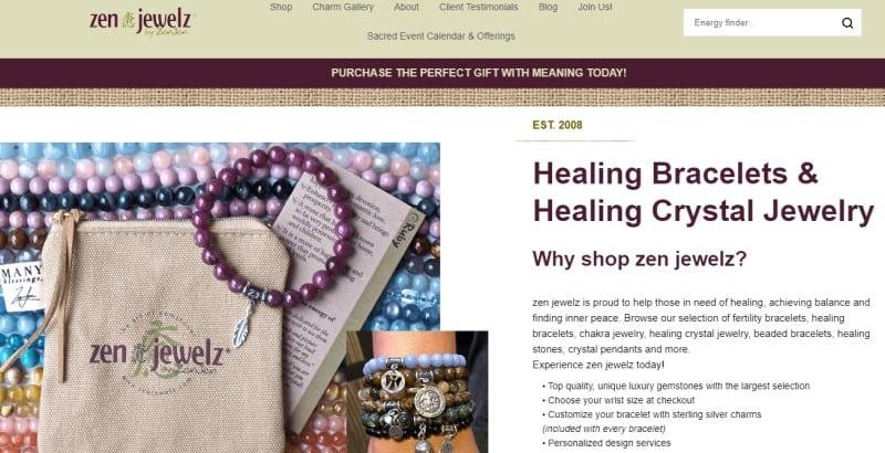 screenshot of the zen jewels website