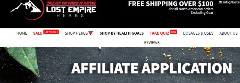 Lost Empire Herbs affiliate program screenshot