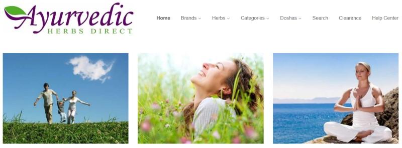 screenshot of the Ayurvedic Herbs Direct website