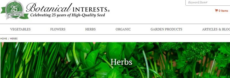 screenshot of the botanical interest screenshot