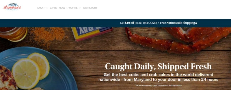 screenshot of the camerons seafood website
