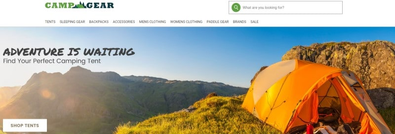 screenshot of the campgear.com website