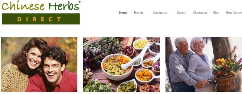 screenshot of the chinese herbs direct website