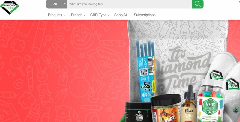 screenshot of the Diamond CBD website with an image of their subscription box