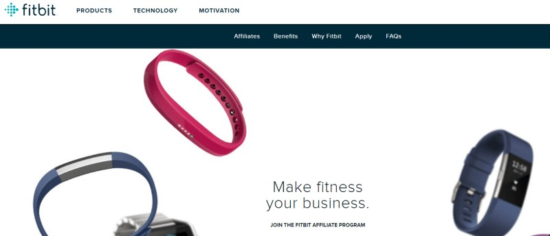 screenshot of the fitbit affiliate webpage