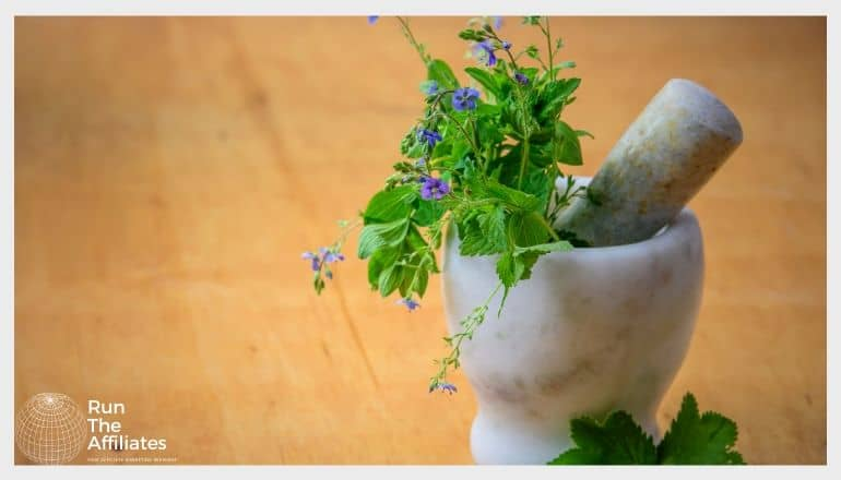mortar and pestle with herbs init
