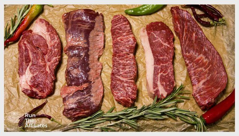 various cuts of raw meat and sprigs of rosemary laying on a table