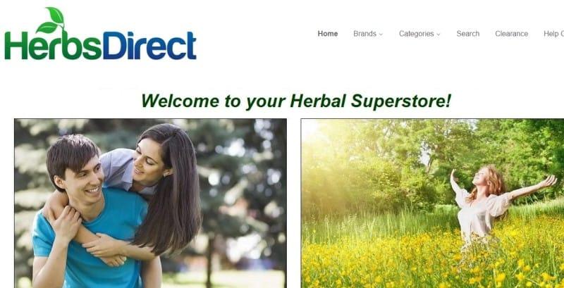screenshot of the herbs direct website