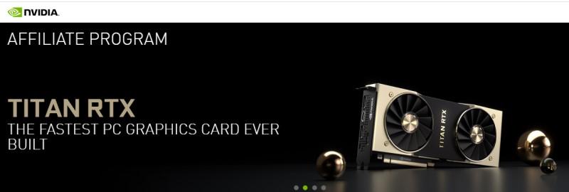screenshot of the nvidia affiliate webpage featuring a titan rtx video card.