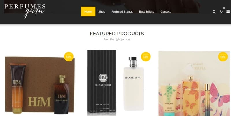 perfumesguru website featuring a selection of fragrances