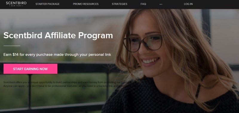 screenshot of the scentbird affiliate program website