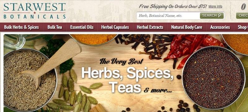 screenshot of the starwest botanicals website