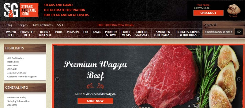 screenshot of the Steaks And Game website with images of their meat products