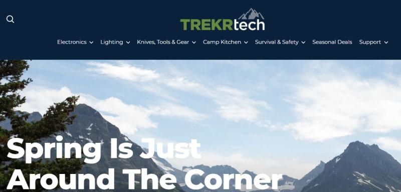 Trekr Tech website screenshot featuring a mountain view background