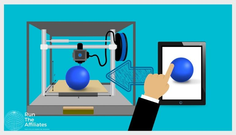 drawing of the 3d printing process using a tablet to send a scematic to the 3d printer to create a blue ball