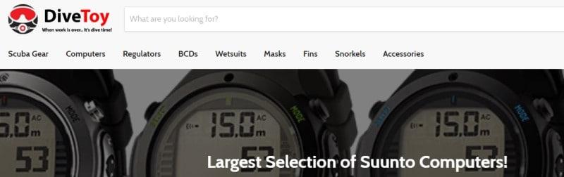 screenshot of the DiveToy website