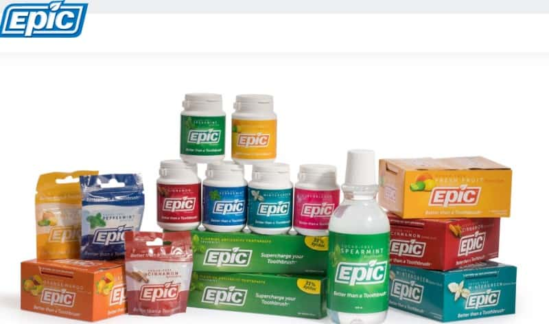 screenshot of the epic dental website featuring images of their gum and toothpaste