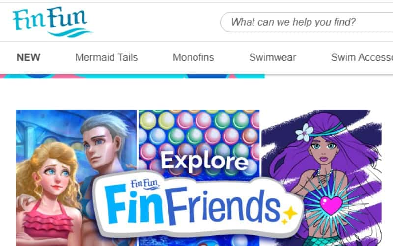 fin fun screenshot featuring mermaid themed products