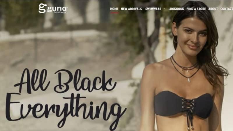screenshot of the guria website featuring a model in a black bikini
