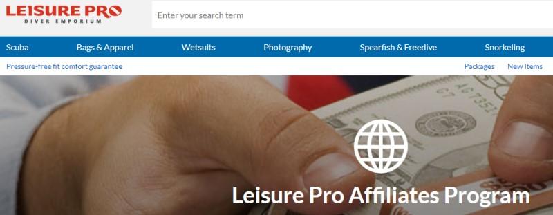 screenshot of the leisure pro website